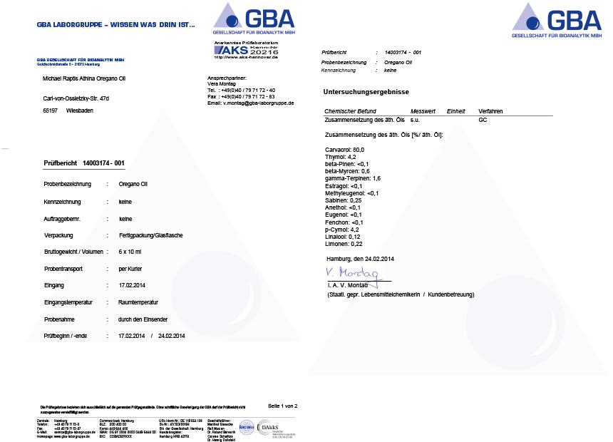 Oregano Öl Prüfbericht Februar 2014